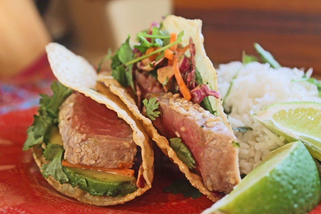 Ahi tuna tacos with srirachaslaw cooking for keeps for Tuna fish tacos