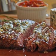Balsamic Marinated Flank Steak with Blue Cheese and Tomato Marmalade