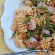 Asparagus and Shrimp Pasta with Tomato Butter Sauce