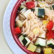 Orzo with Zucchini, Squash, and Fontina Cheese