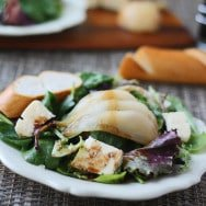 Poached Pear & Brie Salad with Honey Balsamic Dressing
