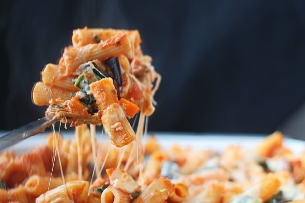 Baked Rigatoni with Eggplant, Spinach and Mozzarella