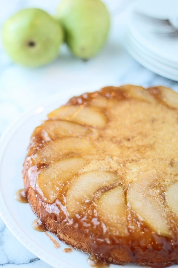 Brown Butter Upside Down Pear Cake