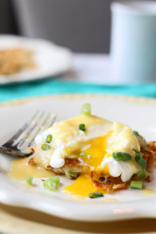 Green Onion Latkes with Poached Eggs and Hollandaise