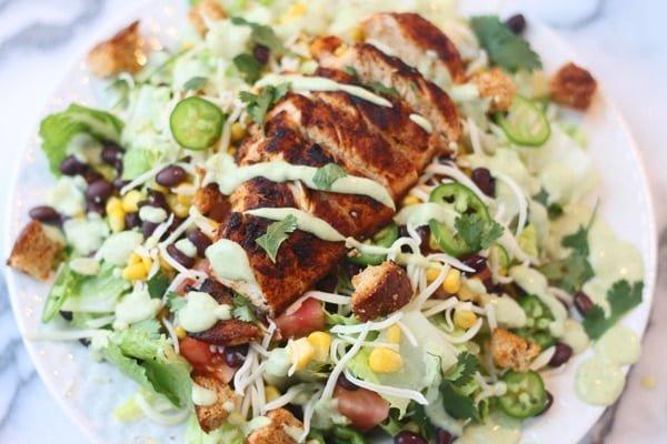 Southwest Chicken Salad with Healthy Avocado Buttermilk Dressing