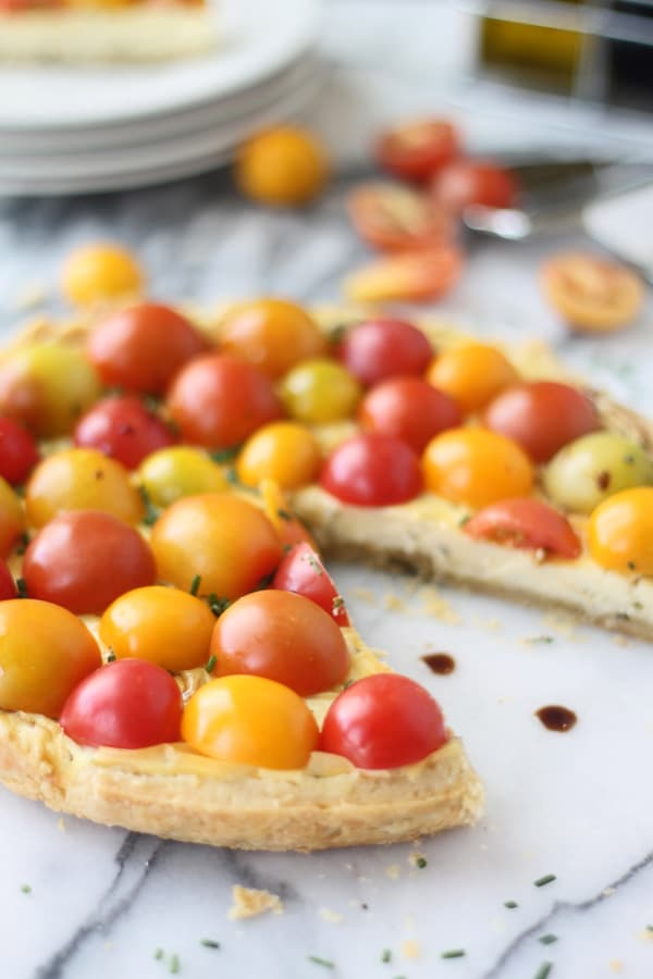 Goat Cheese Mascarpone Tart with Cherry Tomatoes and Balsamic Drizzle