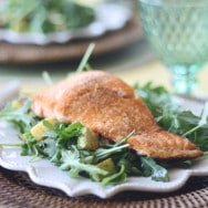 The Easiest & Healthiest Lunch- Salmon with Arugula, Zucchini & Asparagus