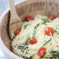 Spring Pasta: Angel Hair with Roasted Garlic, Cherry Tomatoes & Asparagus