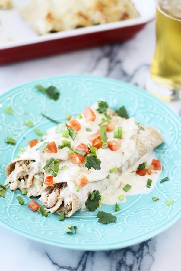 Skinny Sour Cream Chicken Enhiladas
