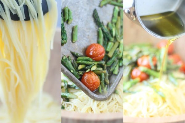 Spring Pasta Angel Hair With Roasted Garlic Cherry Tomatoes