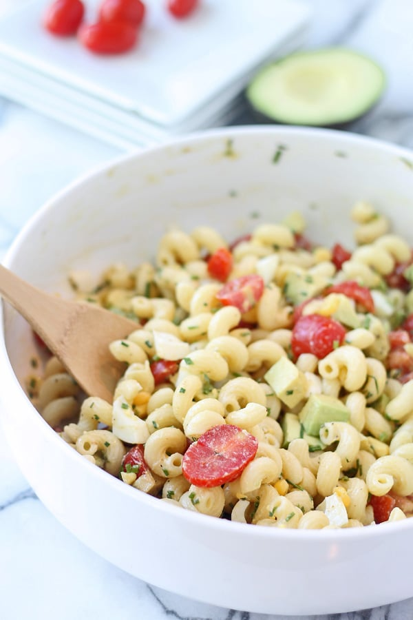 Cobb Pasta Salad - A lightened up cobb-style pasta salad perfect for spring and summertime picnics.