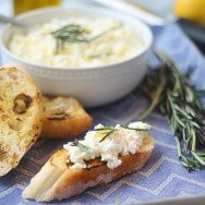 Homemade Ricotta with Lemon Zest, Crispy Rosemary and Chargrilled Ciabatta