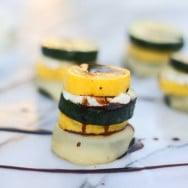 Grilled Zucchini & Squash Stacks with Mozzarella, Goat Cheese & Balsamic Drizzle