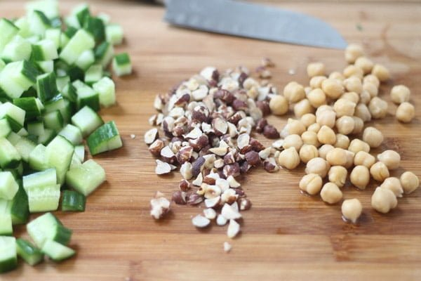 Cucumber Salad with Chickpeas, Farro and Hazlenuts