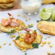 Corn Cakes with Sautéed Shrimp and Tequila Lime Cream Sauce