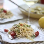 Creamy Lemon Pasta with Artichokes and Cherry Tomatoes