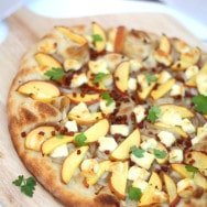 Peach and Brie Pizza with Brown Butter Onions and Pancetta