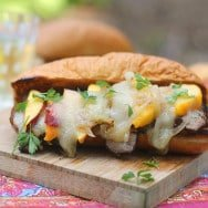 Balsamic Marinated Steak Sandwiches with Peaches, Brie and Brown Butter Onions