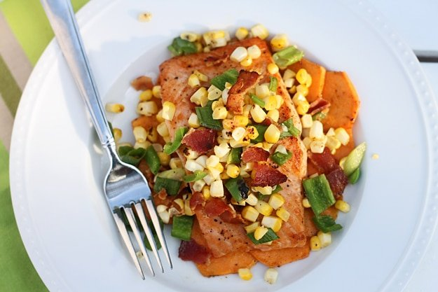 Salmon with Charred Corn, Jalapeños, Bacon and Lime