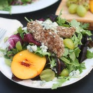 Peach, Blue Cheese and Grape Salad with Pecan Crusted Chicken and an Apple Cider Vinaigrette