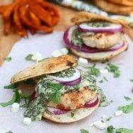 Spanakopita Chicken Burgers on Charred Pita Rounds