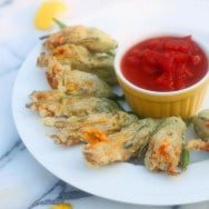 Sun-dried Tomato and Goat Cheese Stuffed Squash Blossoms