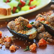 Grilled Baby Eggplant with Turkey Sausage & Tomatoes