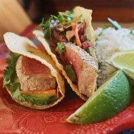 Ahi Tuna Tacos with SrirachaSlaw