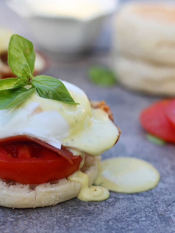 BLT Benedicts with Prosciutto and Basil Hollandaise