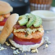 Cobb Salad Salmon Burgers with Blue Cheese Mayo