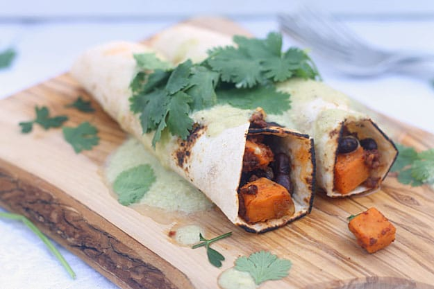 Healthy Sweet Potato, Chorizo and Black Bean Enchiladas with Poblano Cream Sauce 2