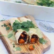 """Healthy Sweet Potato, Chorizo and Black Bean Enchiladas with Poblano """"Cream"""" Sauce"""