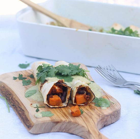 Healthy Sweet Potato, Chorizo and Black Bean Enchiladas with Poblano Cream Sauce PS2