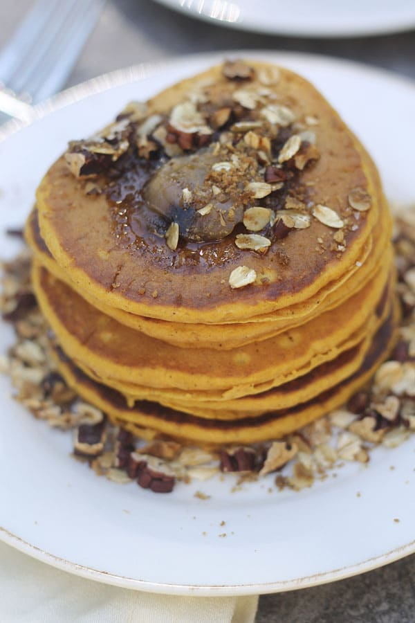 Pumpkin Pancakes with Brown Butter and Pecan Streusel