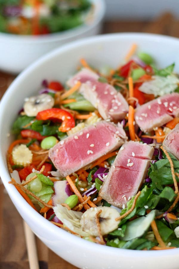 Ahi Tuna Salad with Seasme Ginger vinaigrette