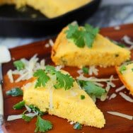 Brown Butter Cornbread with Poblano Chiles and Gruyere Cheese