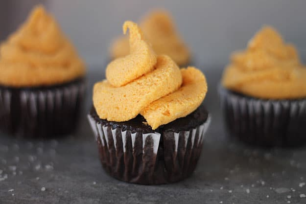 Chocolate Cupcakes with Pumpkin Cream Cheese Frosting