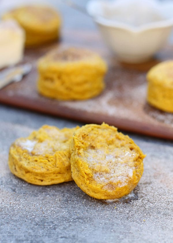 Pumpkin Buttermilk Biscuits with Cinnamon Sugar Brown Buter