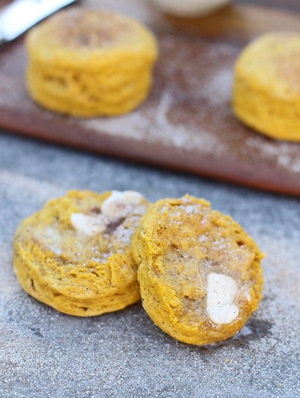 Pumpkin Buttermilk Biscuits with Cinnamon Sugar Brown Butter