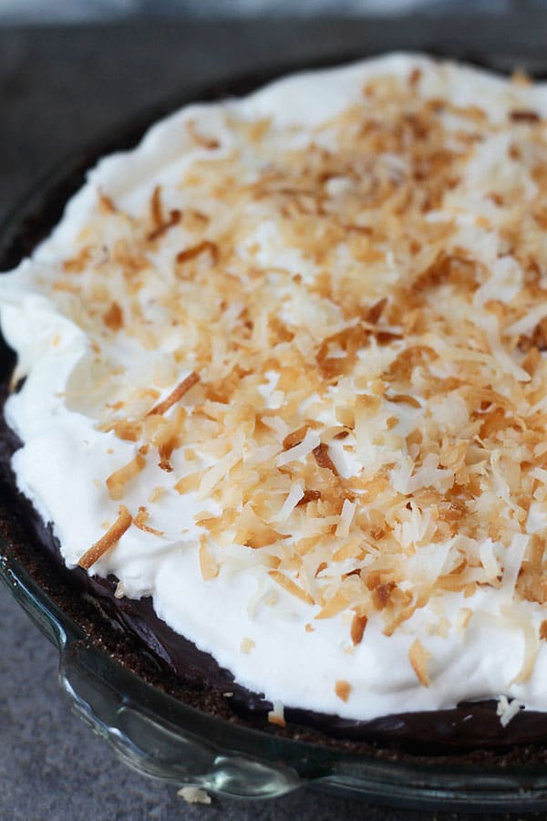 Pumpkin Coconut Cream Pie with Chocolate Ganache and Chocolate Graham Cracker Crust 2