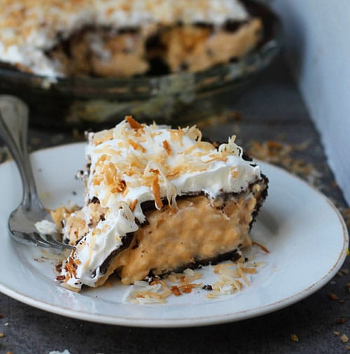 Pumpkin Coconut Cream Pie with Chocolate Ganache and Chocolate Graham Cracker Crust PS1