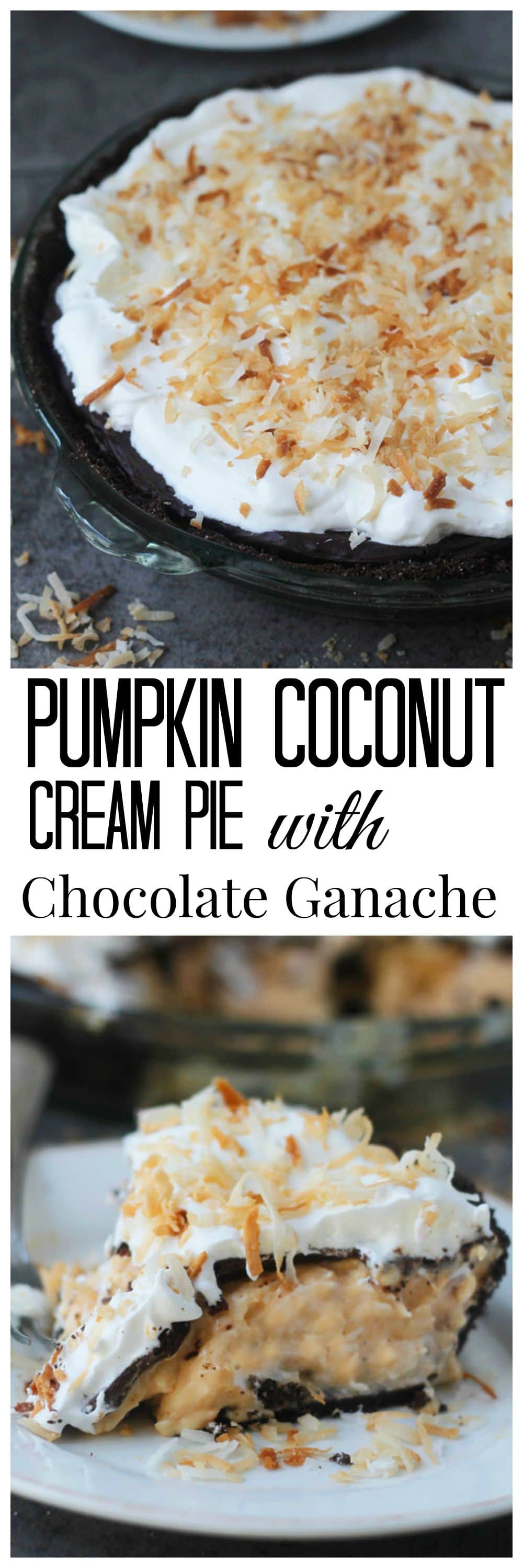Pumpkin Coconut Cream Pie with Chocolate Ganache
