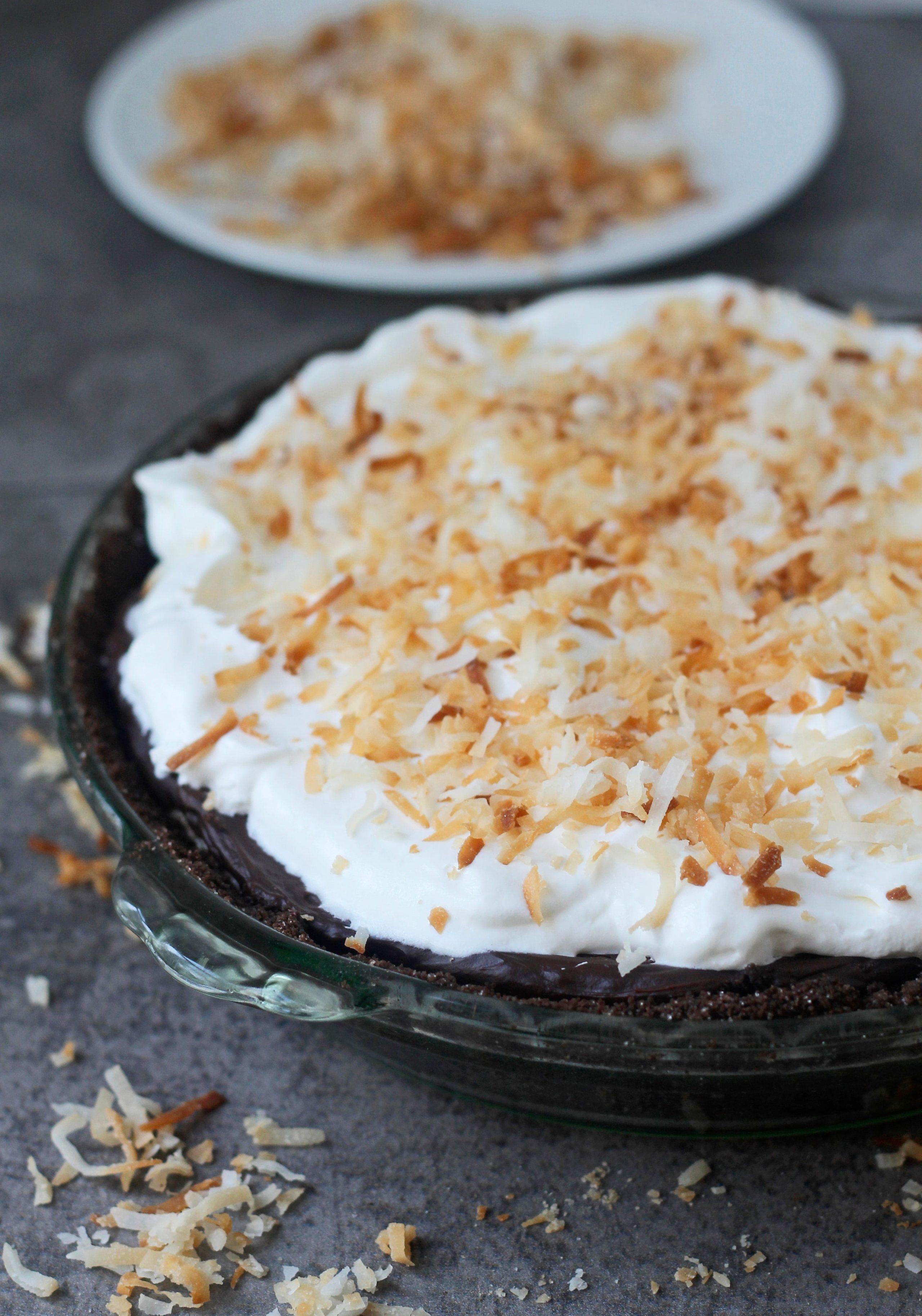 Pumpkin Cream Pie with Chocolate Ganache and Chocolate Graham Cracker Crust