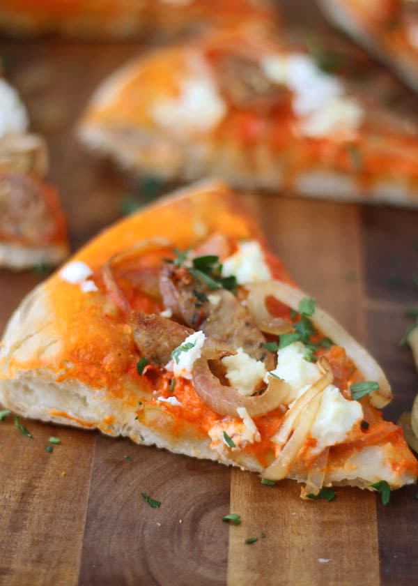 Roasted Red Pepper Pizza with Goat Cheese, Chicken Sausage and Carmelized Onions 1