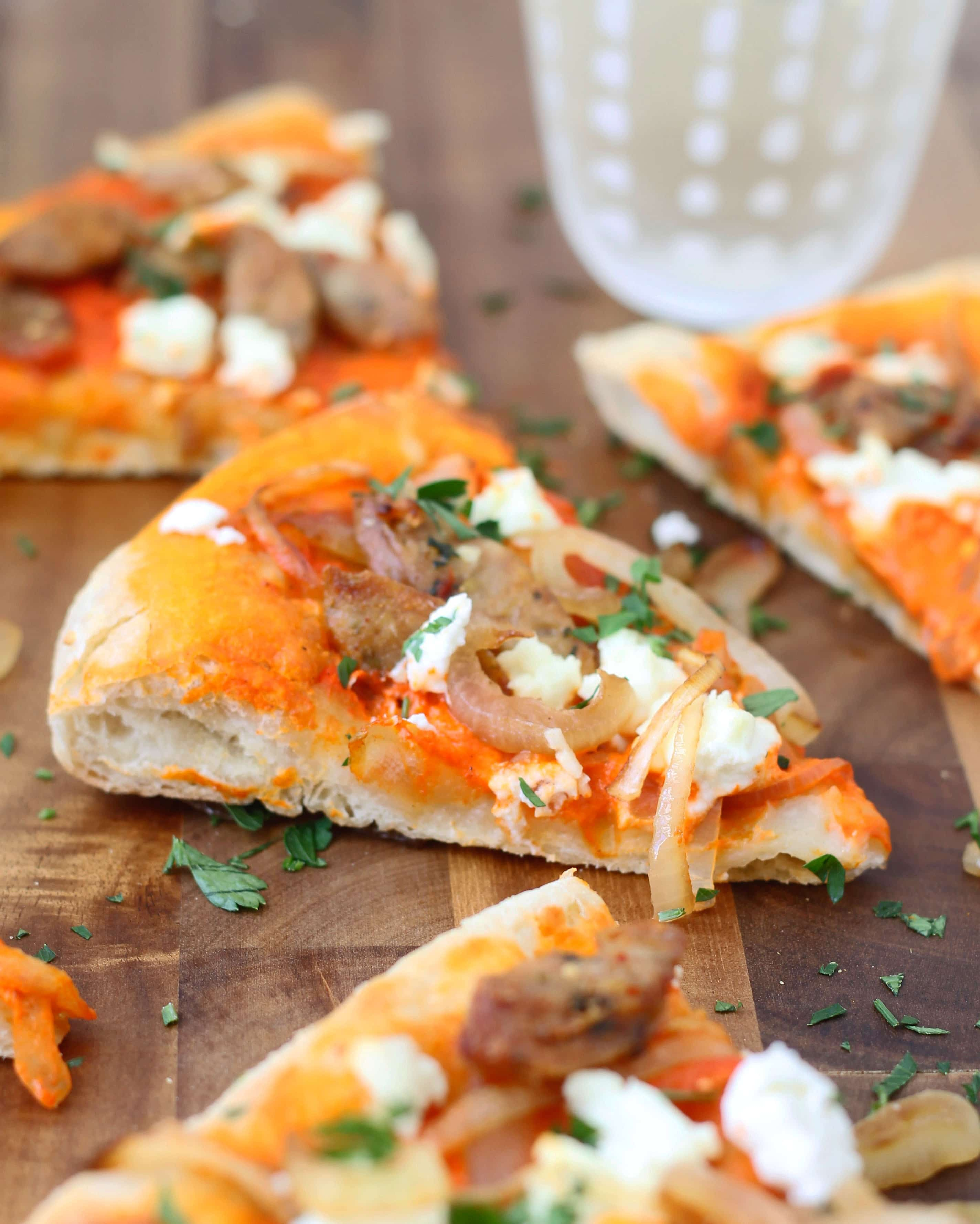 ... Red Pepper Pizza with Goat Cheese, Chicken Sausage and Caramelized