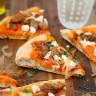 Roasted Red Pepper Pizza with Goat Cheese, Chicken Sausage and Caramelized Onions