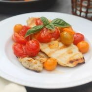 For Chic Sake Friday - Simply Grilled Chicken with Burst Cherry Tomato Sauce and Garlic