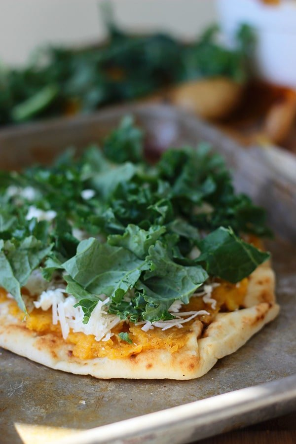 Butternut Squash and Kale Naan Pizza with Pancetta and Goat Cheese 6