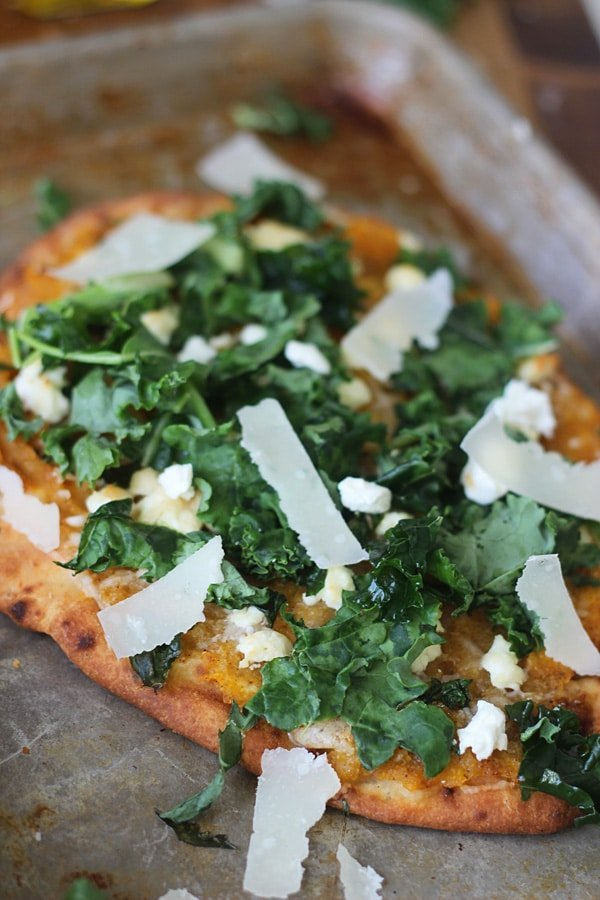 Butternut Squash and Kale Naan Pizzas with Pancetta and Goat Cheese ...