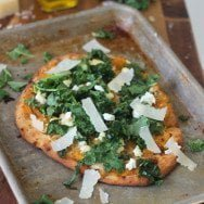 Butternut Squash and Kale Naan Pizzas with Pancetta and Goat Cheese